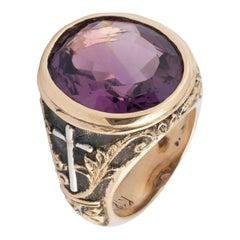 18 Karat Gold and Amethyst Bishop's Ring