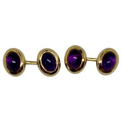 18 Karat Gold and Amethyst Cufflinks by Movado Fine Jewelry
