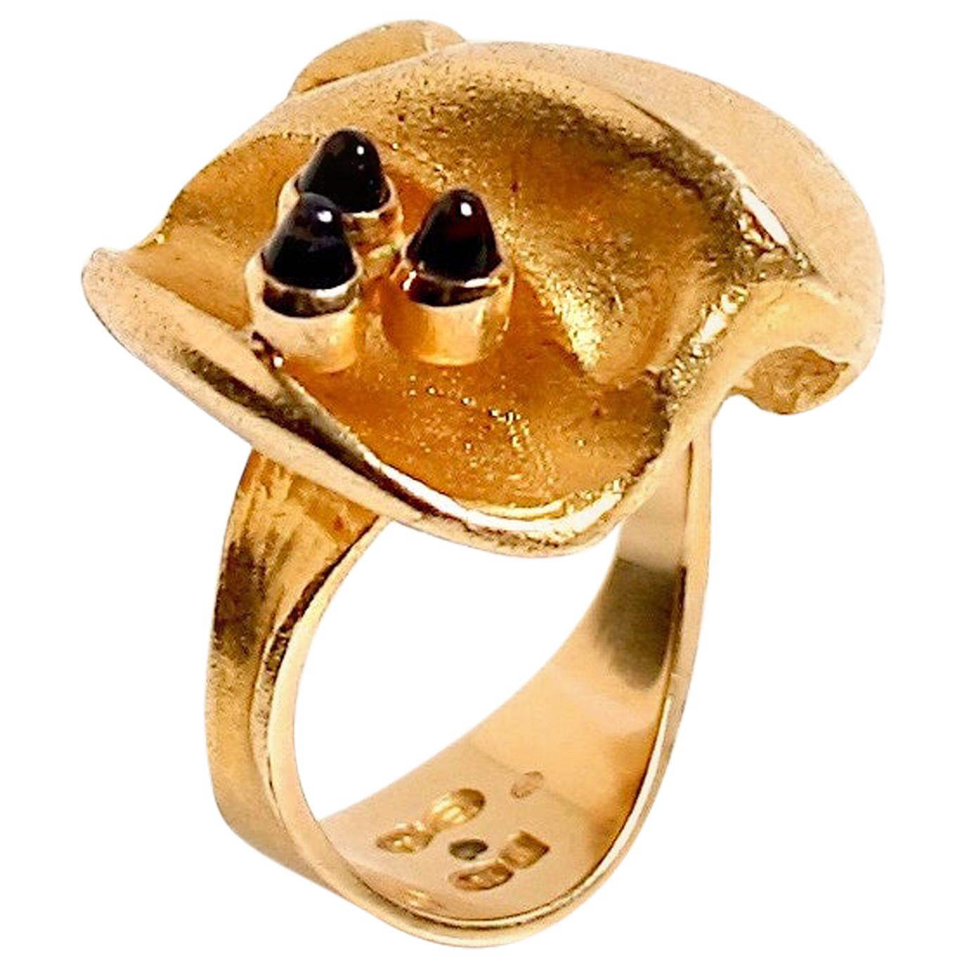 18 Karat Gold and Amethyst Ring Designed by Bjorn Weckstrom, Finland