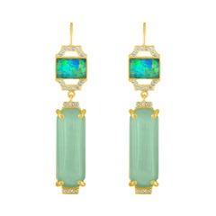 18 Karat Gold and Aquamarine Drop Earring with Boulder Opal and Diamonds