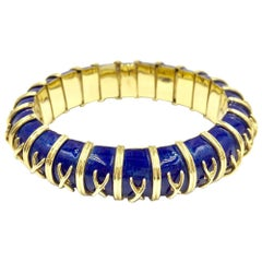 18 Karat Gold and Blue Enamel Michael Gates Bracelet