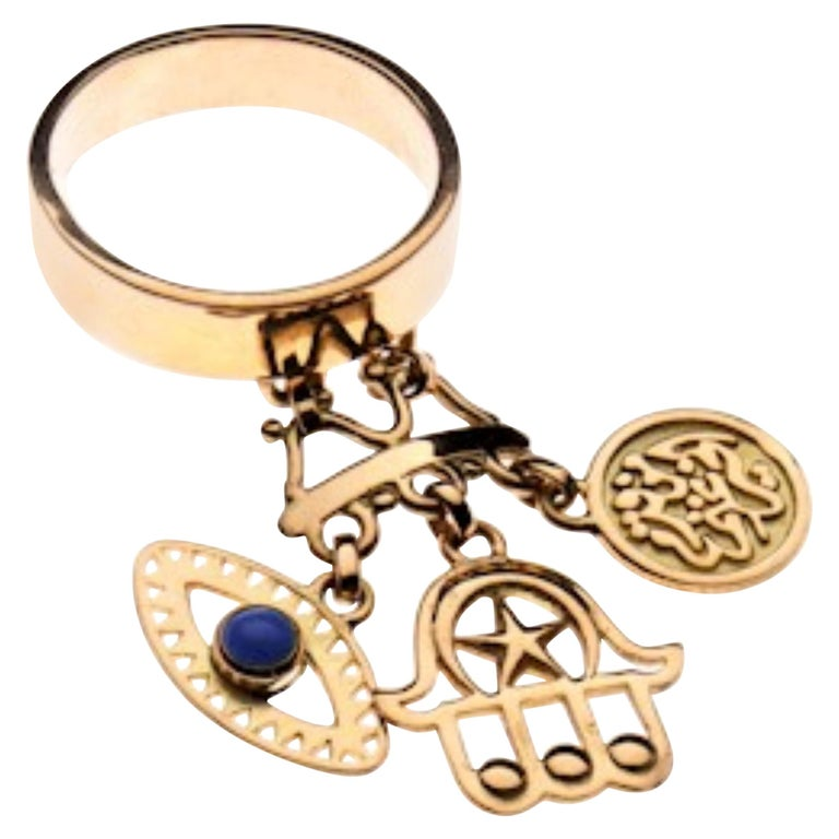 18 Karat Gold and Cabochon Lapis Rumuz Dainty Charm Ring For Sale