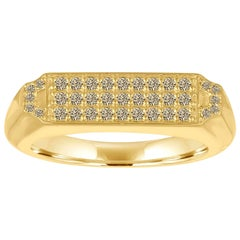 18 Karat Gold and Champagne Diamond Pave Diamond Signet Ring