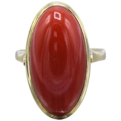 18 Karat Gold and Coral Cabochon Ring