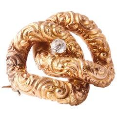 18 Karat Gold and Diamond Antique Brooch
