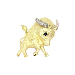 18 Karat Gold and Diamond Bull Brooch