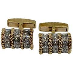 18 Karat Gold and Diamond Cufflinks Signed Vourakis