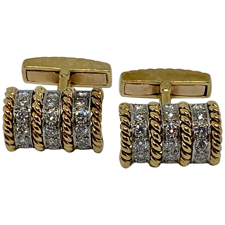 18 Karat Gold and Diamond Cufflinks Signed Vourakis For Sale