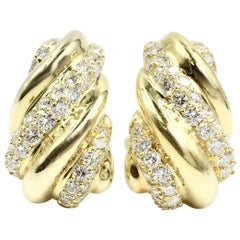 18 Karat Gold and Diamond Drop Earrings