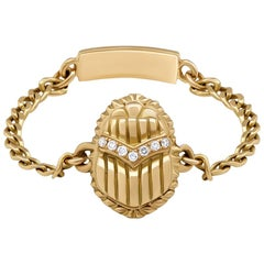 18 Karat Gold and Diamond Egyptomania Scarab Chain Ring