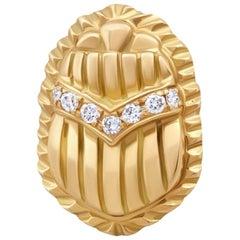 18 Karat Gold and Diamond Egyptomania Scarab Single Stud Earring