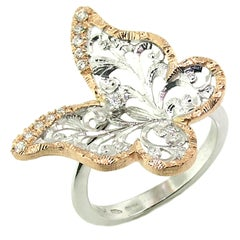 18 Karat Gold and Diamond Engraved Butterfly Ring, Handmade in Florence, Italy