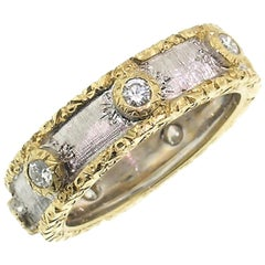 18 Karat Gold and Diamond Eternity Band, Handmade and Hand-Engraved in Italy