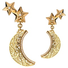 18 Karat Gold and Diamond Filigree Crescent Moon and Stars Earrings