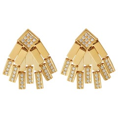 18 Karat Gold and Diamond Little Rapids Earrings
