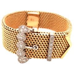 18 Karat Gold and Diamond Mesh Belt Watch or Bracelet