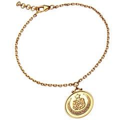 18 Karat Gold and Diamond Ottoman Coin Dainty Bracelet