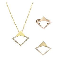 Handmade Sustainable 18 Karat Yellow Gold and Diamond Pavé Geometric Set