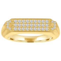 18 Karat Gold and Diamond Pave Signet Ring