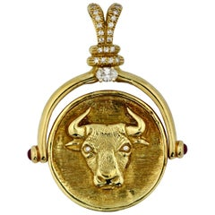 "18 Karat Gold and Diamond Pendant, ""Bull and Bear"""