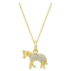 18 Karat Gold and Diamond Pendant Charm Necklace Little Horse 'Benjamin'
