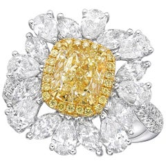 18 Karat Gold and Diamond Ring with GIA 2.08 Carat Fancy Light Yellow Diamond