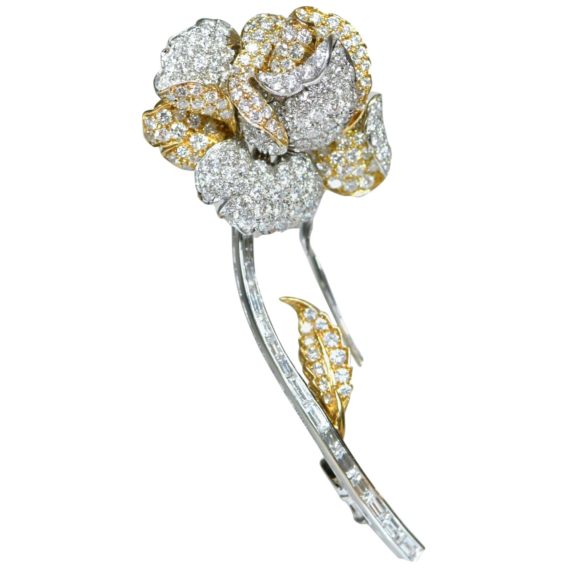 18K Gold Diamond Rose Flower Brooch