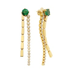 18 Karat Gold and Diamond Stream Earrings