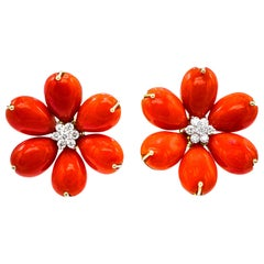 Gold Coral Diamond Flower Earrings