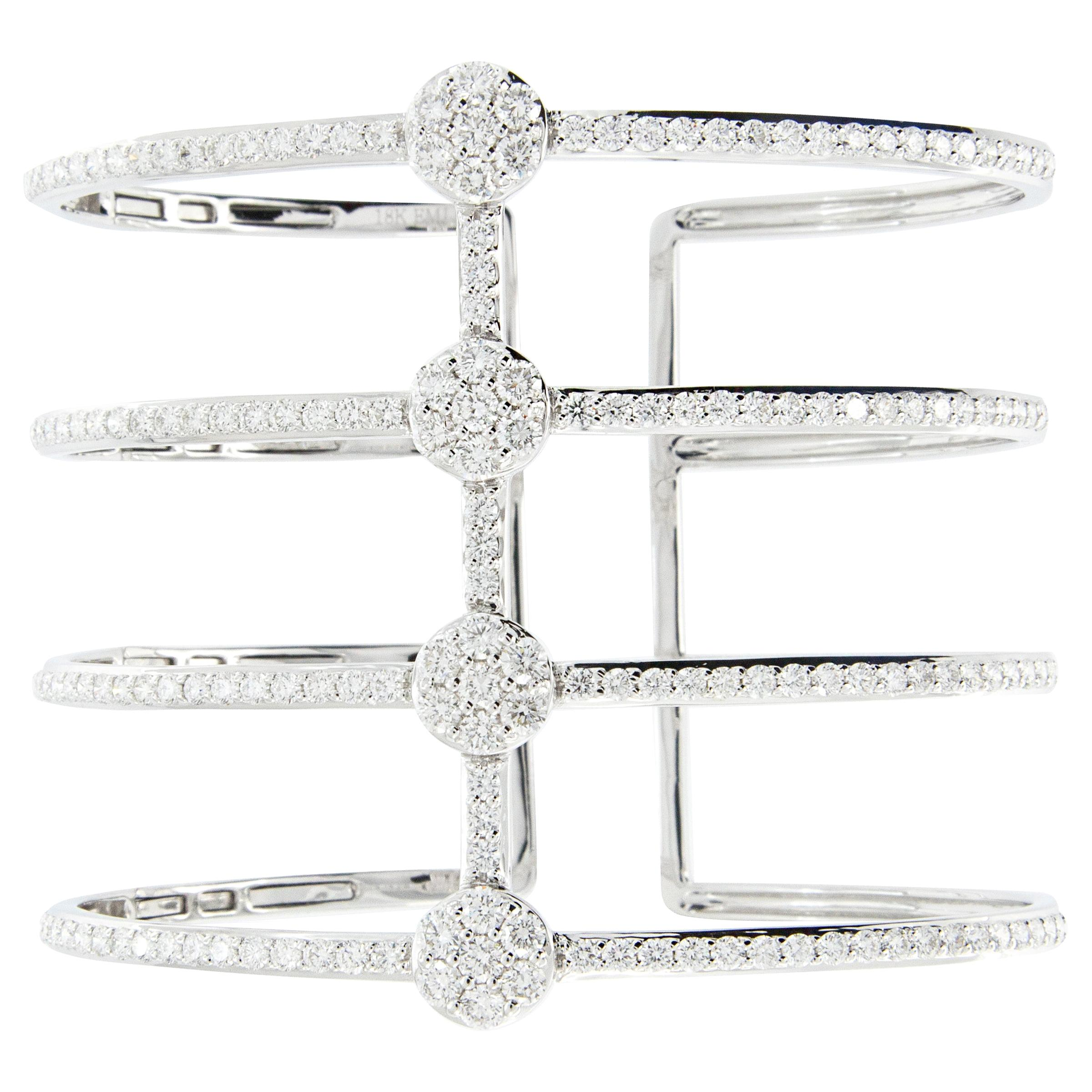 18 Karat Gold and Diamond Wide Cuff Bracelet