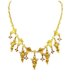 18 Karat Gold and Diamonds Necklace with Cupid 'Eros' and Musician Angels