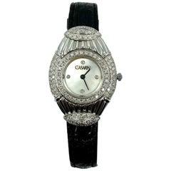 18 Karat Gold and Diamonds Wristwatch, with Leather Bracelet