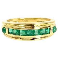 18 Karat Gold and Emerald Band Ring