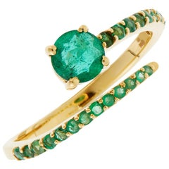 18 Karat Gold and Emerald Grass Seed Ring