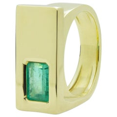 18 Karat Gold and Emerald Modernist Men's Ring