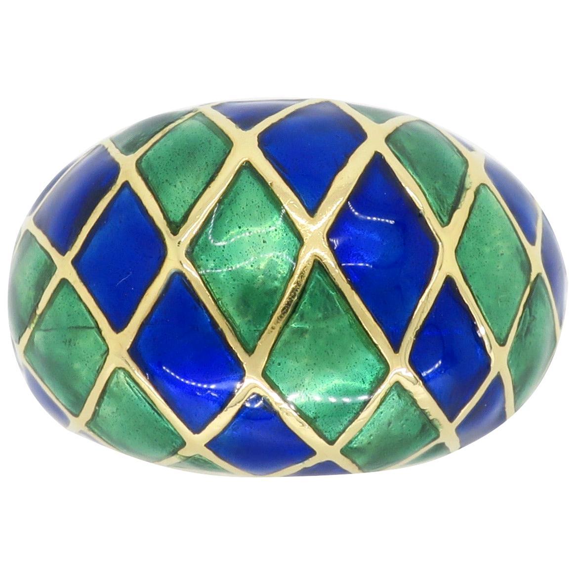18 Karat Gold and Enamel Checkerboard Ring
