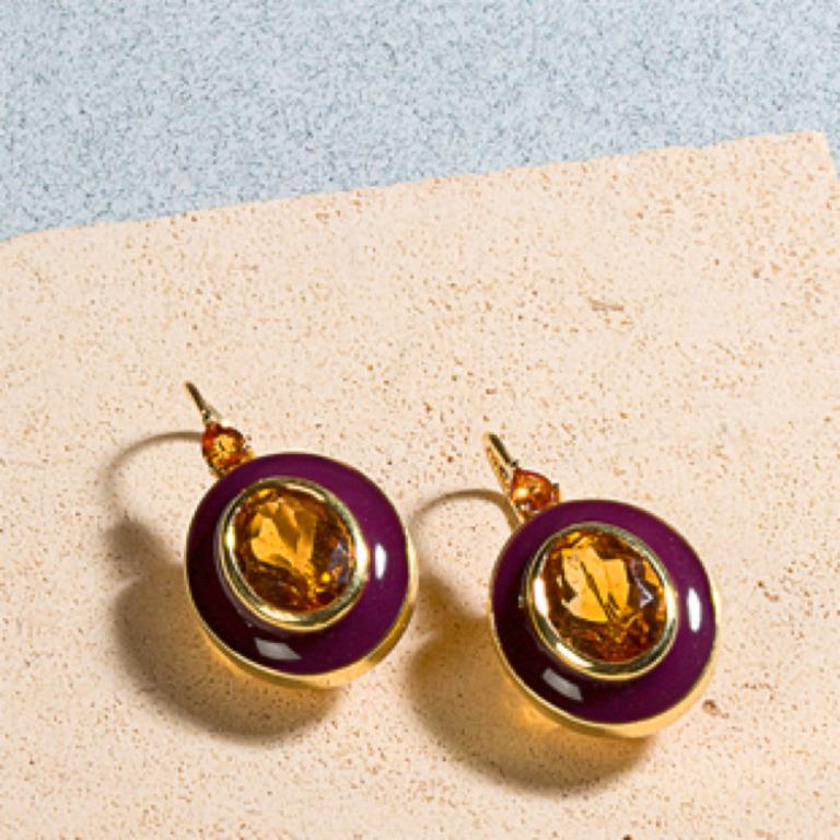 Contemporary 18 Karat Gold and Enamel Earrings with Citrine and Yellow Sapphires For Sale