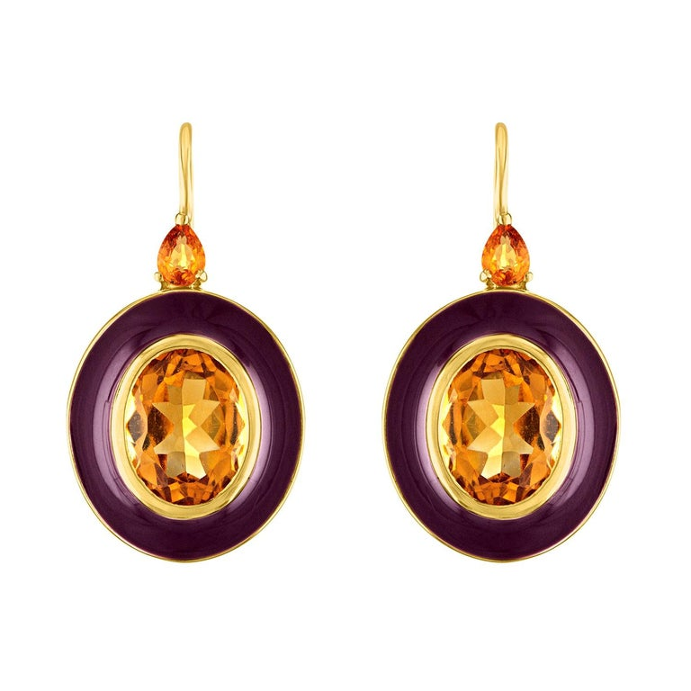 18 Karat Gold and Enamel Earrings with Citrine and Yellow Sapphires For Sale