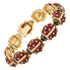 18 Karat Gold and Enamel Lady Bug Bracelet by Hidalgo