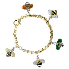 18 Karat Gold and Enameled Bees Charm Bracelet