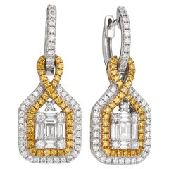 18 Karat Gold and Fancy Yellow Diamond Drop Earrings