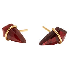 18 Karat Gold and Garnet Earrings