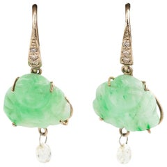 18 Karat Gold and Jade Earrings