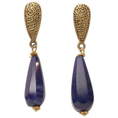 18 Karat Gold and Lapis Lazuli Drop Dangle Earrings
