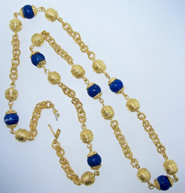 Halskette aus 18 Karat Gold und Lapislazuli 2
