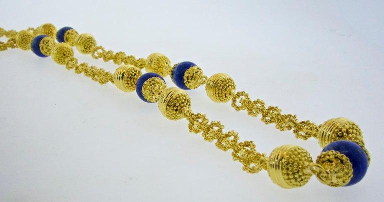 Halskette aus 18 Karat Gold und Lapislazuli 3