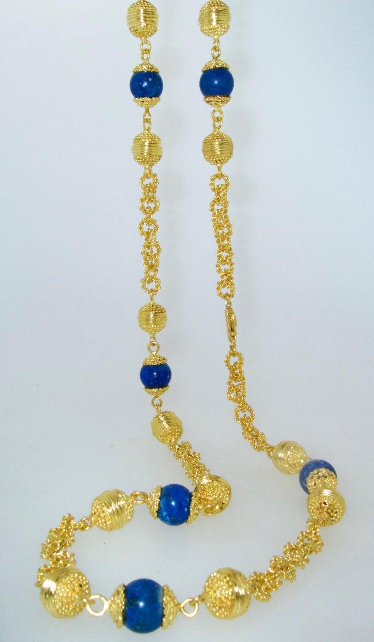 Halskette aus 18 Karat Gold und Lapislazuli 4