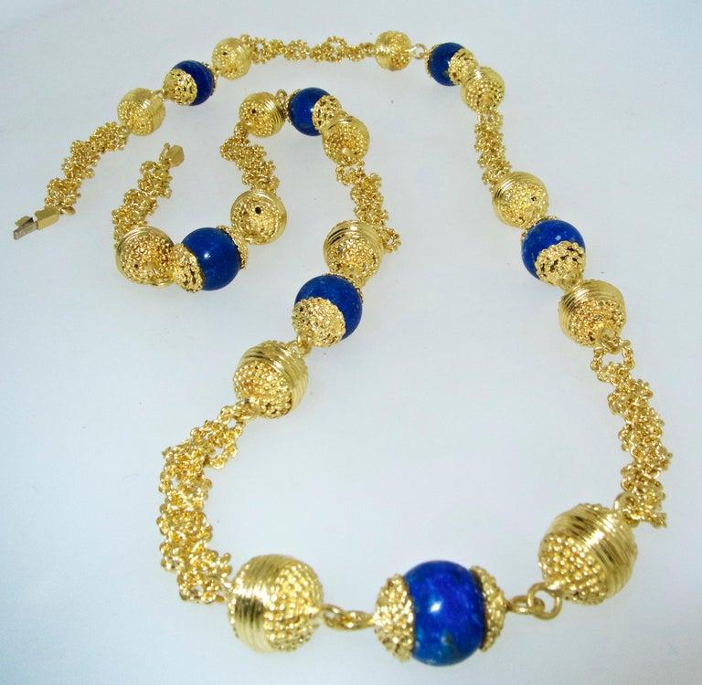 Halskette aus 18 Karat Gold und Lapislazuli 5