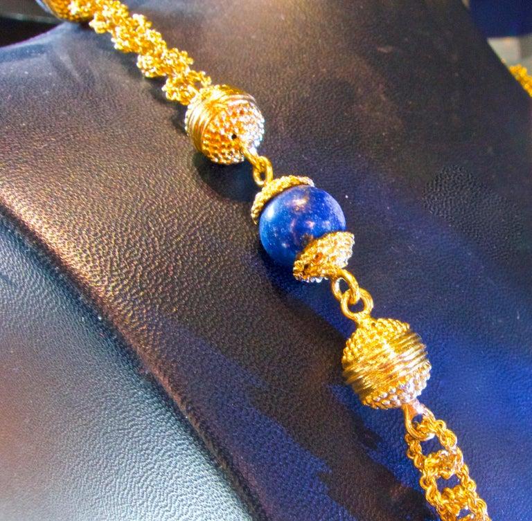 Halskette aus 18 Karat Gold und Lapislazuli 6