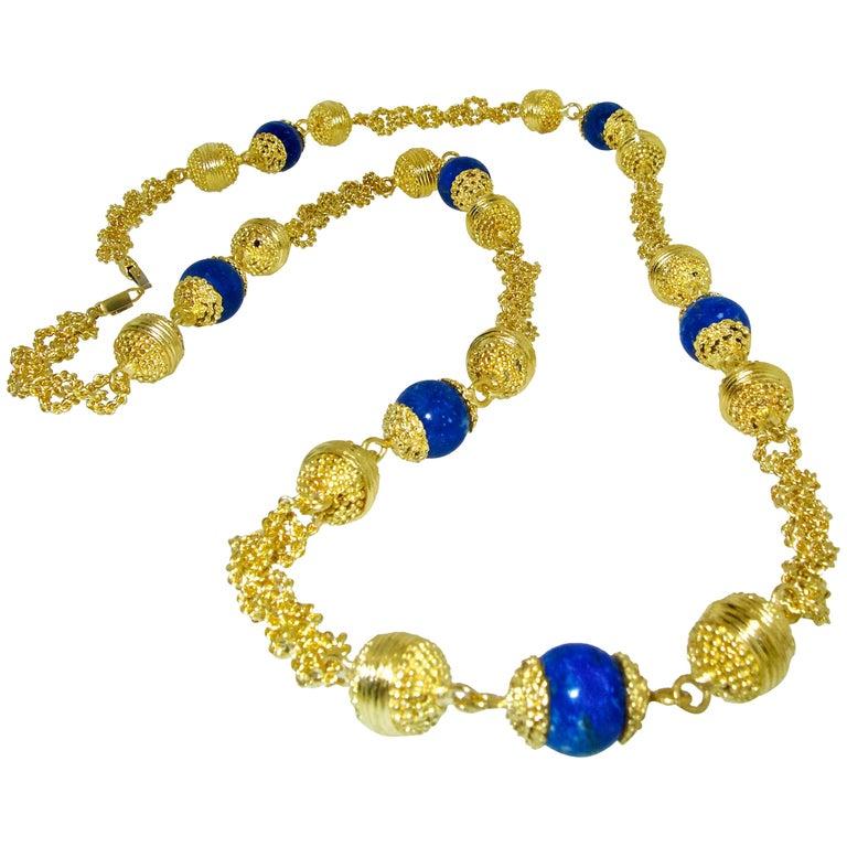 Halskette aus 18 Karat Gold und Lapislazuli 1